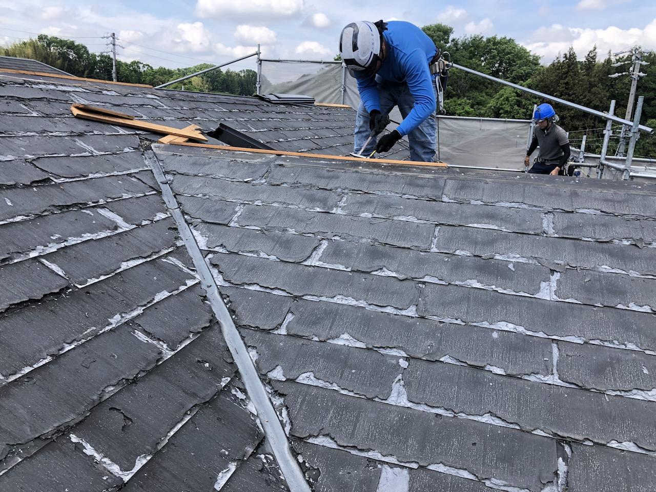 屋根工事 既存棟板金・下地撤去