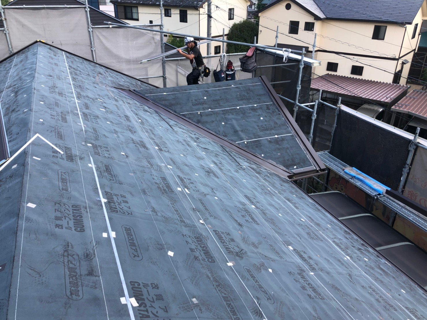 屋根ルーフィング張り